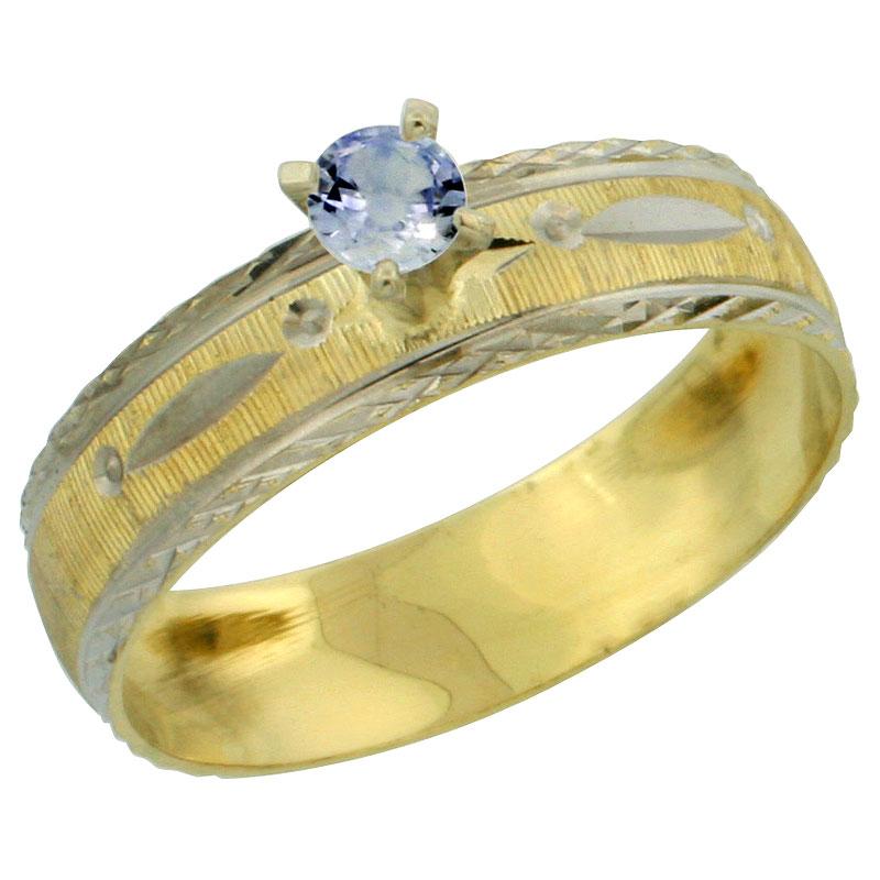 10k Gold Ladies' Solitaire 0.25 Carat Light Blue Sapphire Engagement Ring Diamond-cut Pattern Rhodium Accent, 3/16 in. (4.5mm) w