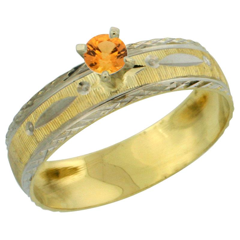 10k Gold Ladies' Solitaire 0.25 Carat Orange Sapphire Engagement Ring Diamond-cut Pattern Rhodium Accent, 3/16 in. (4.5mm) wide,