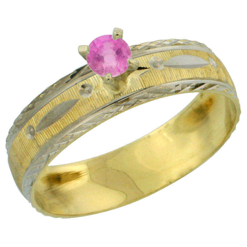 10k Gold Ladies' Solitaire 0.25 Carat Pink Sapphire Engagement Ring Diamond-cut Pattern Rhodium Accent, 3/16 in. (4.5mm) wide, S