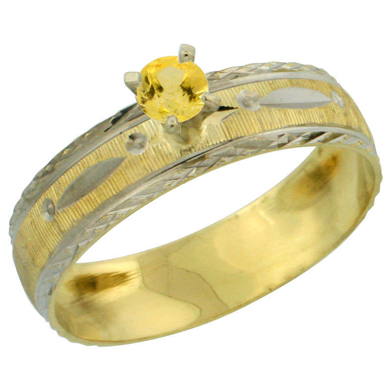 10k Gold Ladies' Solitaire 0.25 Carat Yellow Sapphire Engagement Ring Diamond-cut Pattern Rhodium Accent, 3/16 in. (4.5mm) wide,