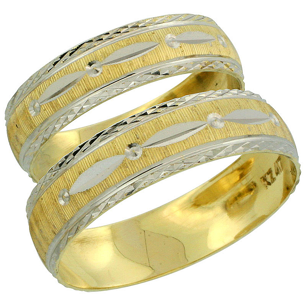 10k Gold 2-Piece Wedding Band Ring Set Him & Her 5.5mm & 4.5mm Diamond-cut Pattern Rhodium Accent, Ladies' Sizes 5 - 10 & Men's Sizes 8 - 14
