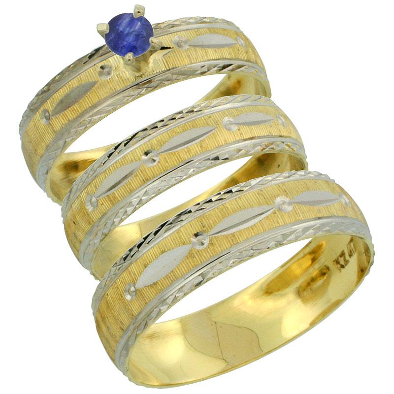 10k Gold 3-Piece Trio Blue Sapphire Wedding Ring Set Him & Her 0.10 ct Rhodium Accent Diamond-cut Pattern, Ladies Sizes 5 - 10 &