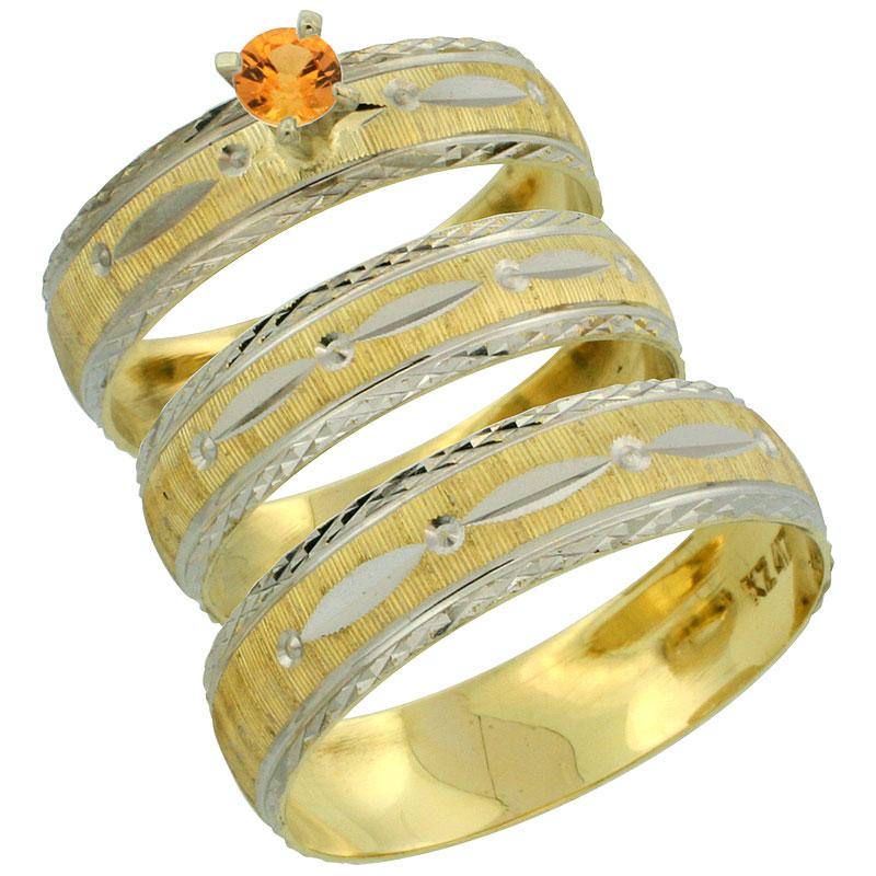 10k Gold 3-Piece Trio Orange Sapphire Wedding Ring Set Him & Her 0.10 ct Rhodium Accent Diamond-cut Pattern, Ladies Sizes 5 - 10