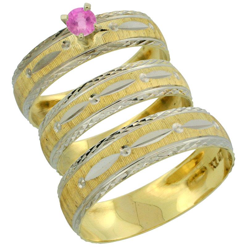 10k Gold 3-Piece Trio Pink Sapphire Wedding Ring Set Him & Her 0.10 ct Rhodium Accent Diamond-cut Pattern, Ladies Sizes 5 - 10 &