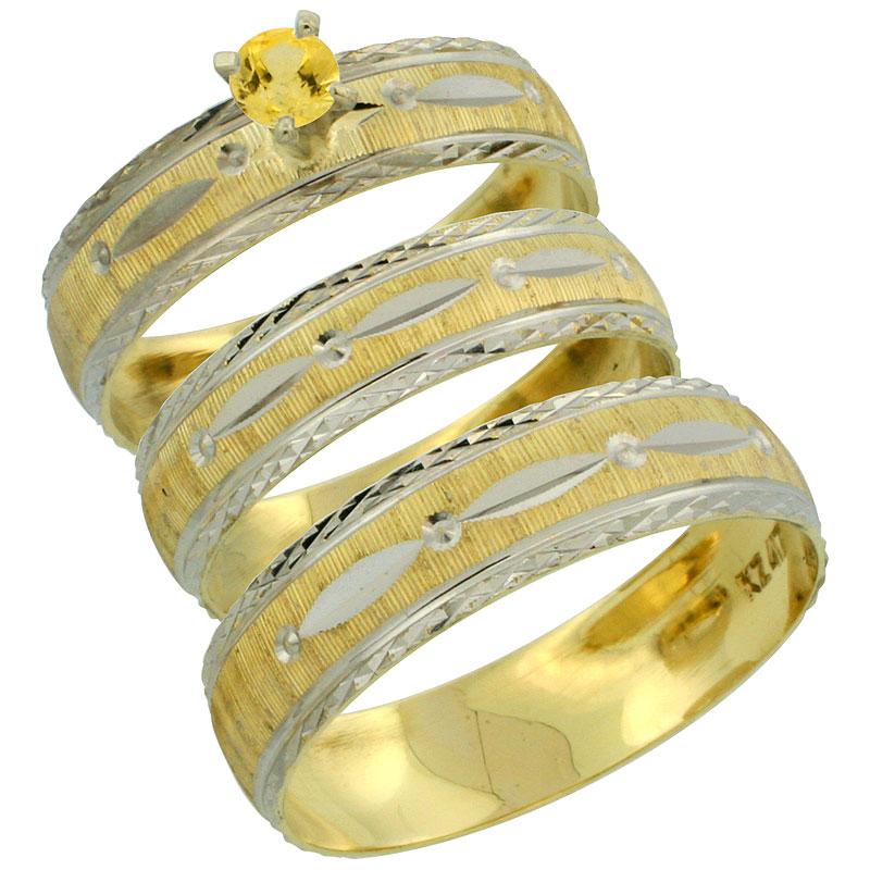 10k Gold 3-Piece Trio Yellow Sapphire Wedding Ring Set Him & Her 0.10 ct Rhodium Accent Diamond-cut Pattern, Ladies Sizes 5 - 10