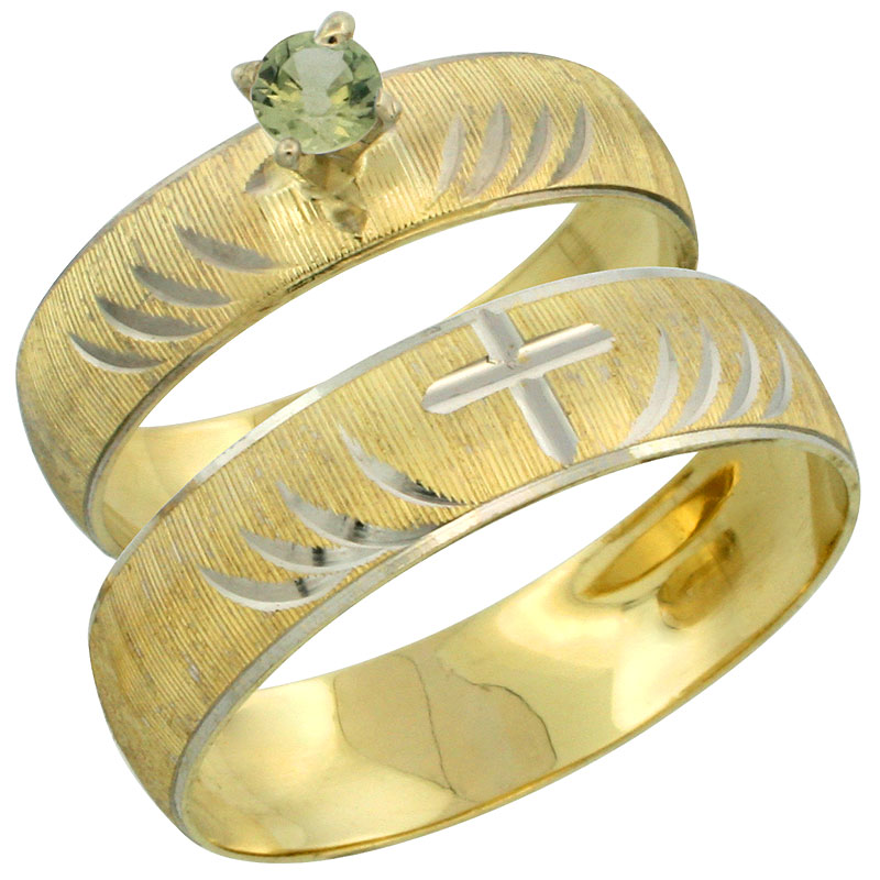 10k Gold 2-Piece 0.25 Carat Green Sapphire Ring Set (Engagement Ring & Man's Wedding Band) Diamond-cut Pattern Rhodium Accent, (4.5mm; 5.5mm) wide , Ladies' Sizes 5 - 10 & Men's Size 8 - 14
