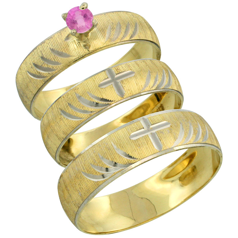 10k Gold 3-Piece Trio Pink Sapphire Wedding Ring Set Him & Her 0.10 ct Rhodium Accent Diamond-cut Pattern, Ladies Sizes 5 - 10 & Men's Sizes 8 - 14
