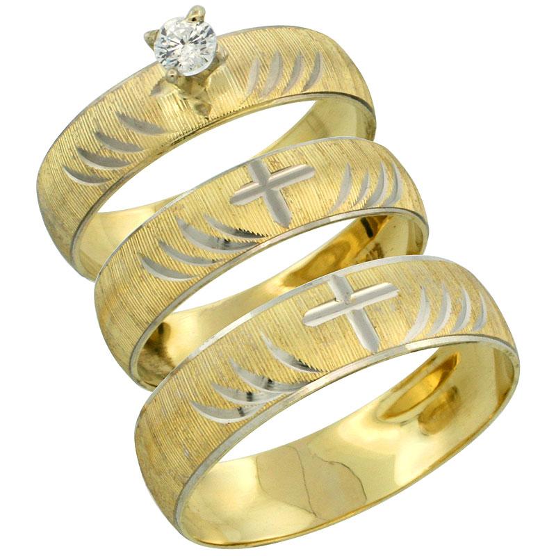 10k Gold 3-Piece Trio White Sapphire Wedding Ring Set Him & Her 0.10 ct Rhodium Accent Diamond-cut Pattern , Ladies Sizes 5 - 10
