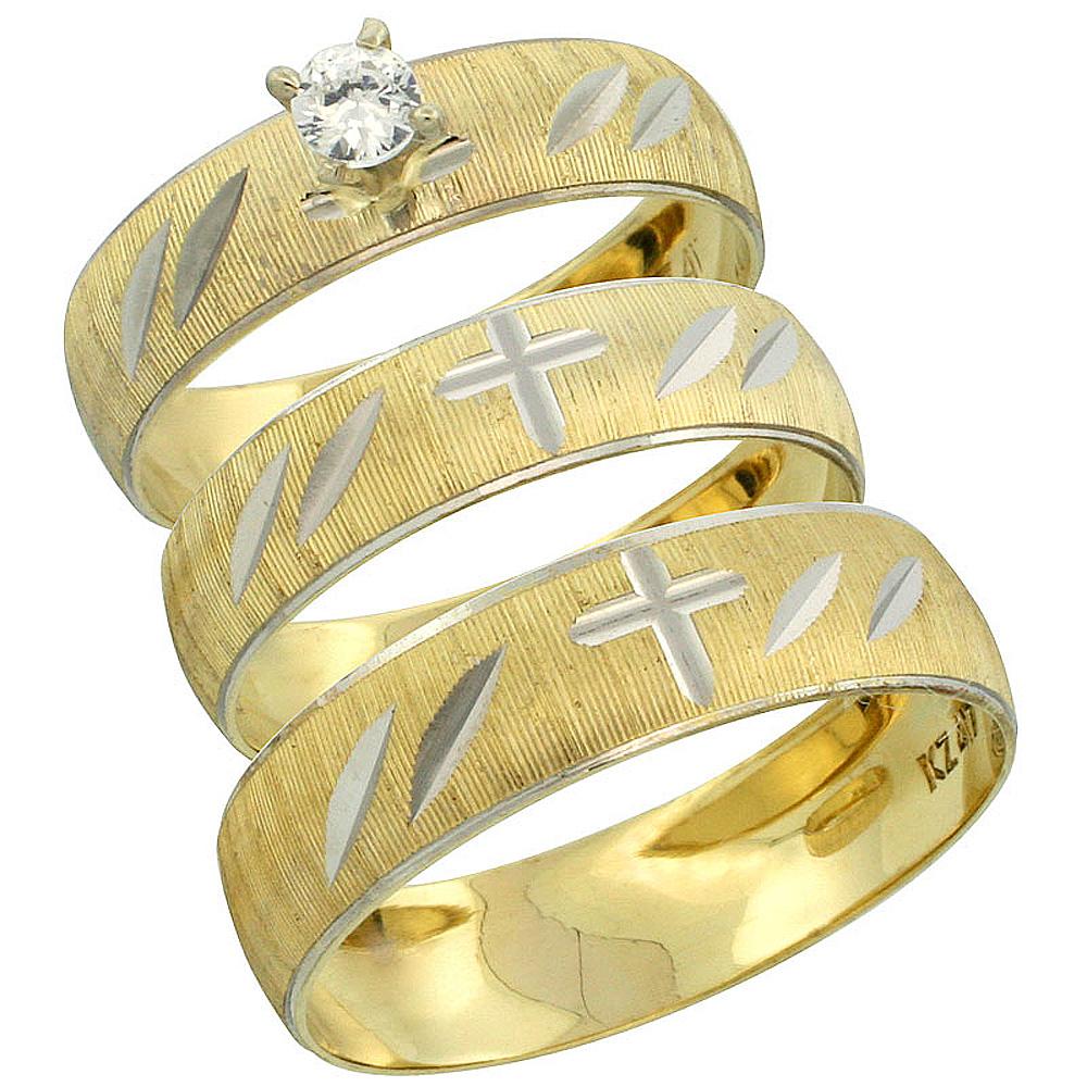 10k Gold 3-Piece Trio Diamond Wedding Ring Set Him & Her 0.10 ct Rhodium Accent Diamond-cut Pattern , Ladies Sizes 5 - 10 & Men'