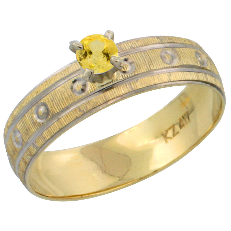 10k Gold Ladies' Solitaire 0.25 Carat Yellow Sapphire Engagement Ring Diamond-cut Pattern Rhodium Accent, 3/16 in. (4.5mm) wide, Sizes 5 - 10