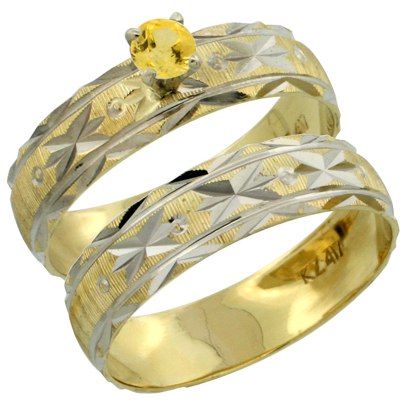 10k Gold Ladies' 2-Piece 0.25 Carat Yellow Sapphire Engagement Ring Set Diamond-cut Pattern Rhodium Accent, 3/16 in. (4.5mm) wide, Sizes 5 - 10