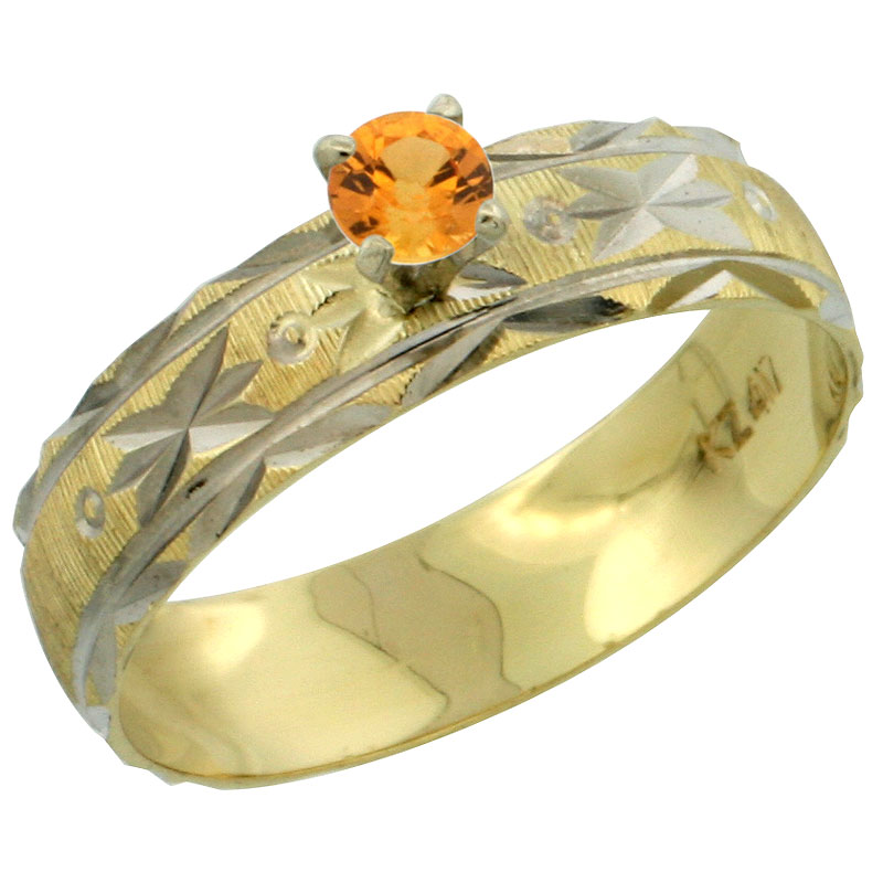 10k Gold Ladies' Solitaire 0.25 Carat Orange Sapphire Engagement Ring Diamond-cut Pattern Rhodium Accent, 3/16 in. (4.5mm) wide, Sizes 5 - 10