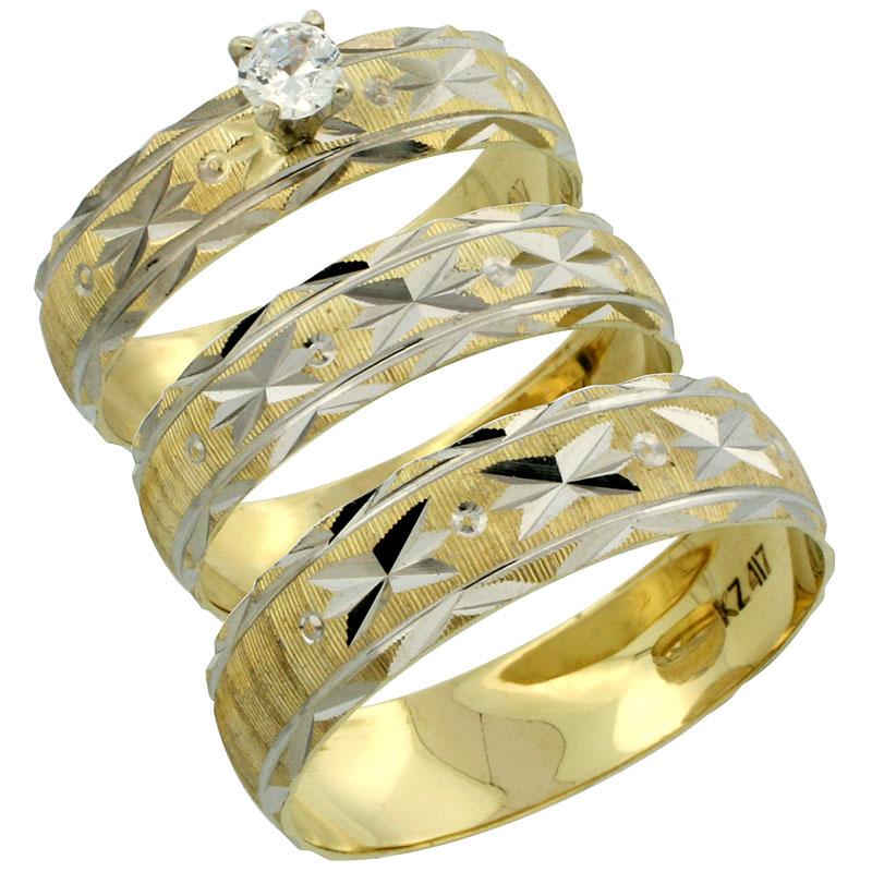 10k Gold 3-Piece Trio Diamond Wedding Ring Set Him & Her 0.10 ct Rhodium Accent Diamond-cut Pattern , Ladies Sizes 5 - 10 & Men's Sizes 8 - 14