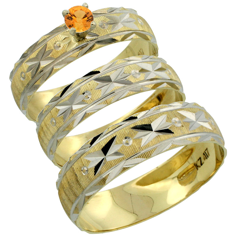 10k Gold 3-Piece Trio Orange Sapphire Wedding Ring Set Him & Her 0.10 ct Rhodium Accent Diamond-cut Pattern, Ladies Sizes 5 - 10