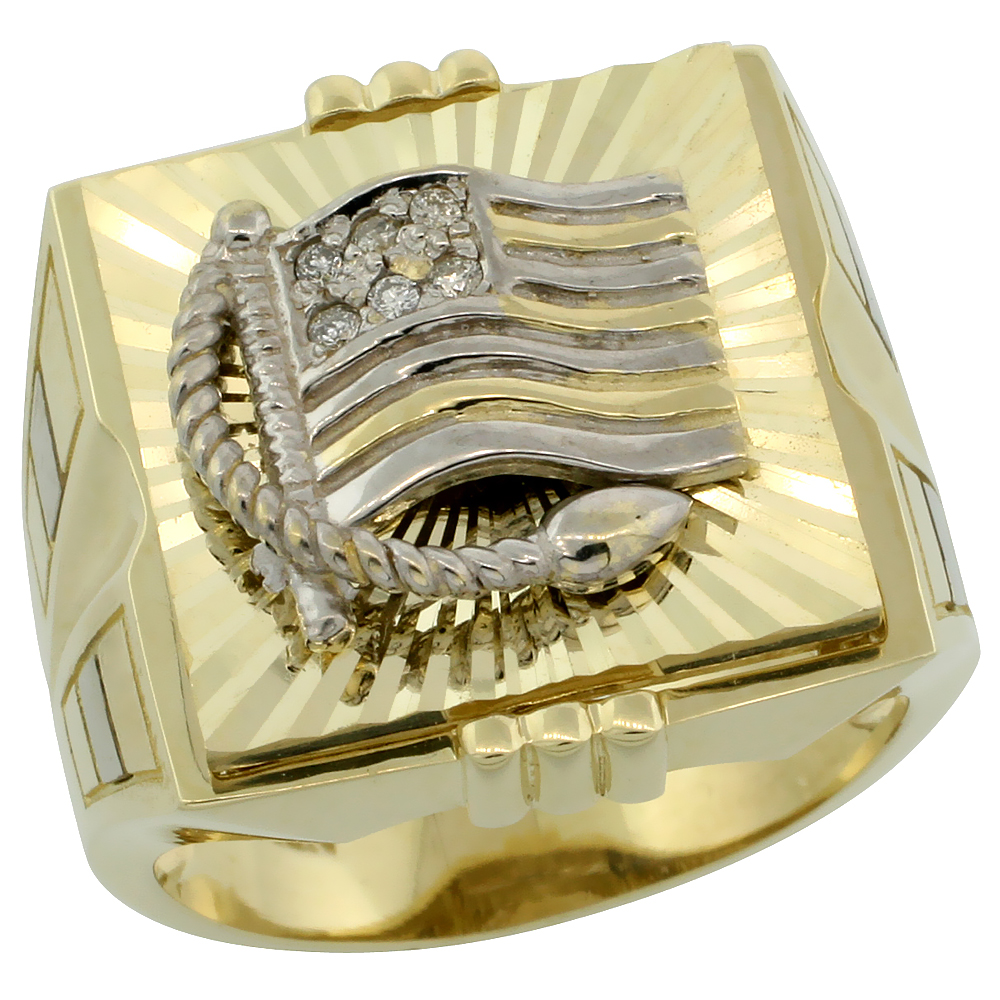 Genuine 10k Gold Diamond American Flag Ring for Men Srtipe Sides Square Shape Rhodium Accent 0.095 ctw 3/4 inch size 8-13