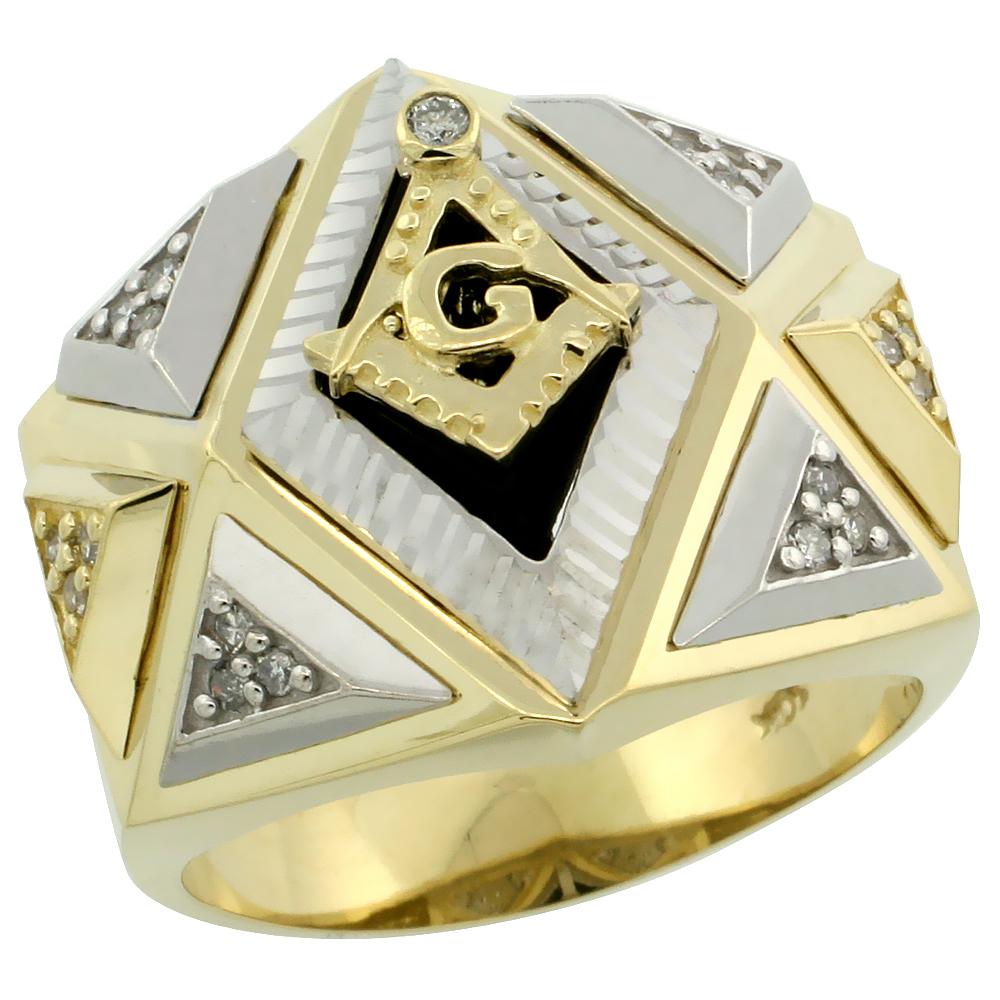 10k Gold Men's Freemasonry Rhodium Accented Masonic Diamond Ring w/ Black Onyx Stone & 0.165 Carat Brilliant Cut Diamonds, 3/4 i