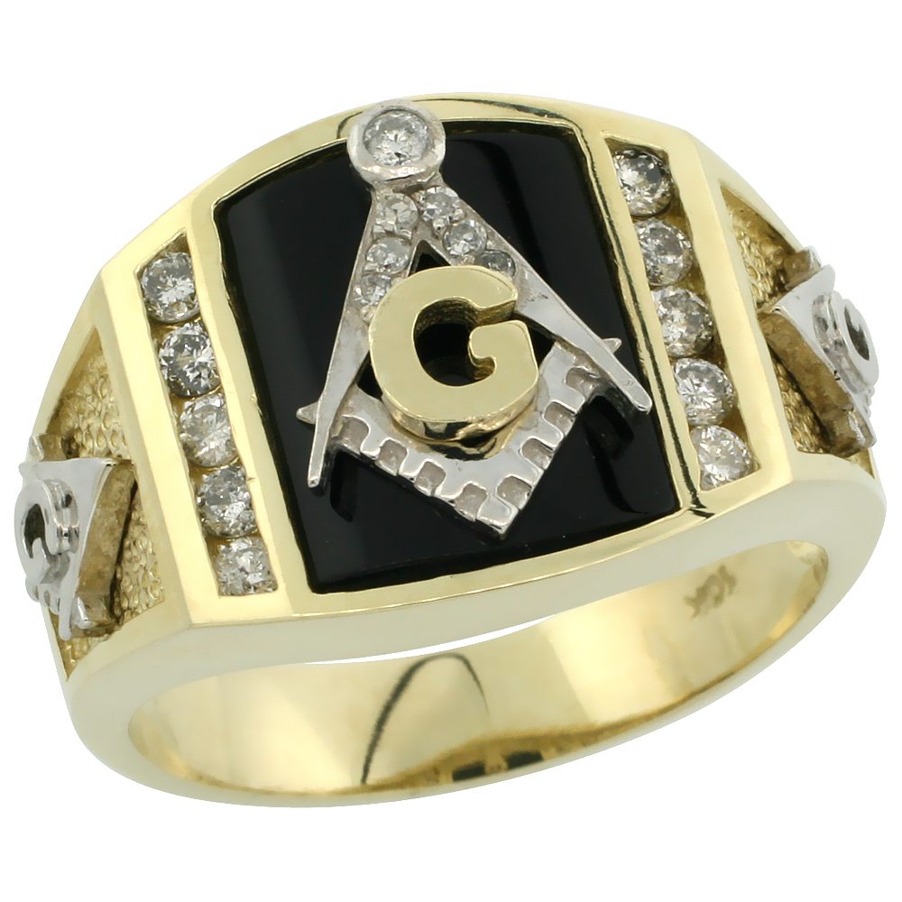 10k Gold Men's Freemasonry Rhodium Accented Masonic Diamond Ring w/ Black Onyx Stone & 0.398 Carat Brilliant Cut Diamonds, 9/16