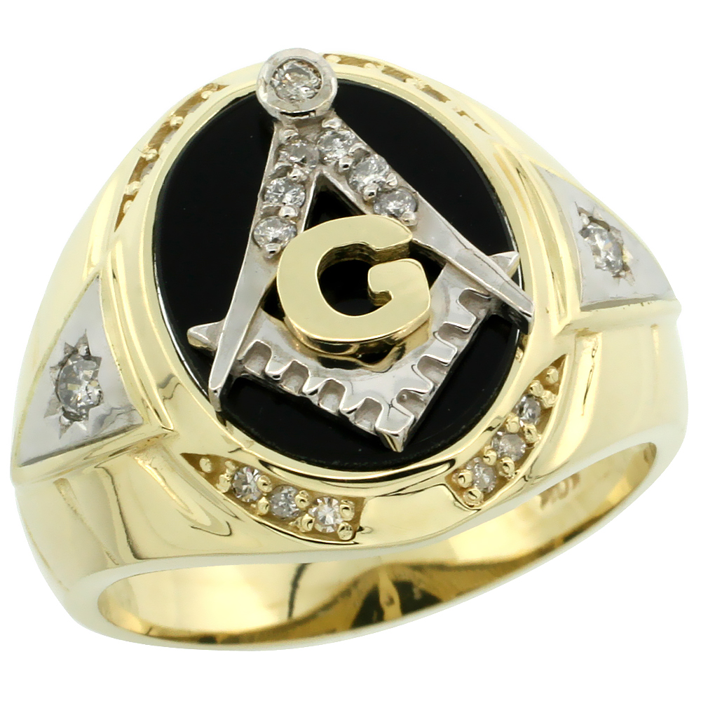 10k Gold Men's Freemasonry Rhodium Accented Masonic Oval Diamond Ring w/ Black Onyx Stone & 0.261 Carat Brilliant Cut Diamonds,