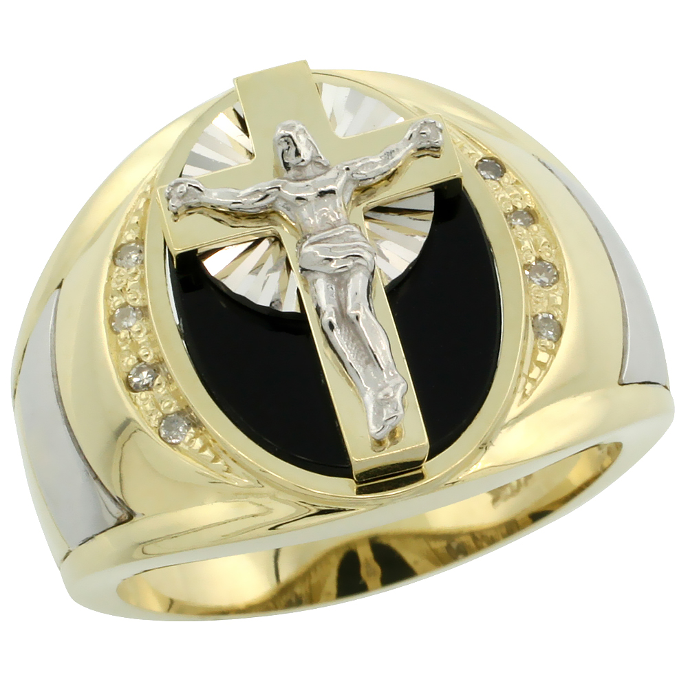 10k Gold Men's Rhodium Accented Crucifix Oval Diamond Ring w/ Black Onyx Stone & 0.066 Carat Brilliant Cut Diamonds, 5/8 in. (16