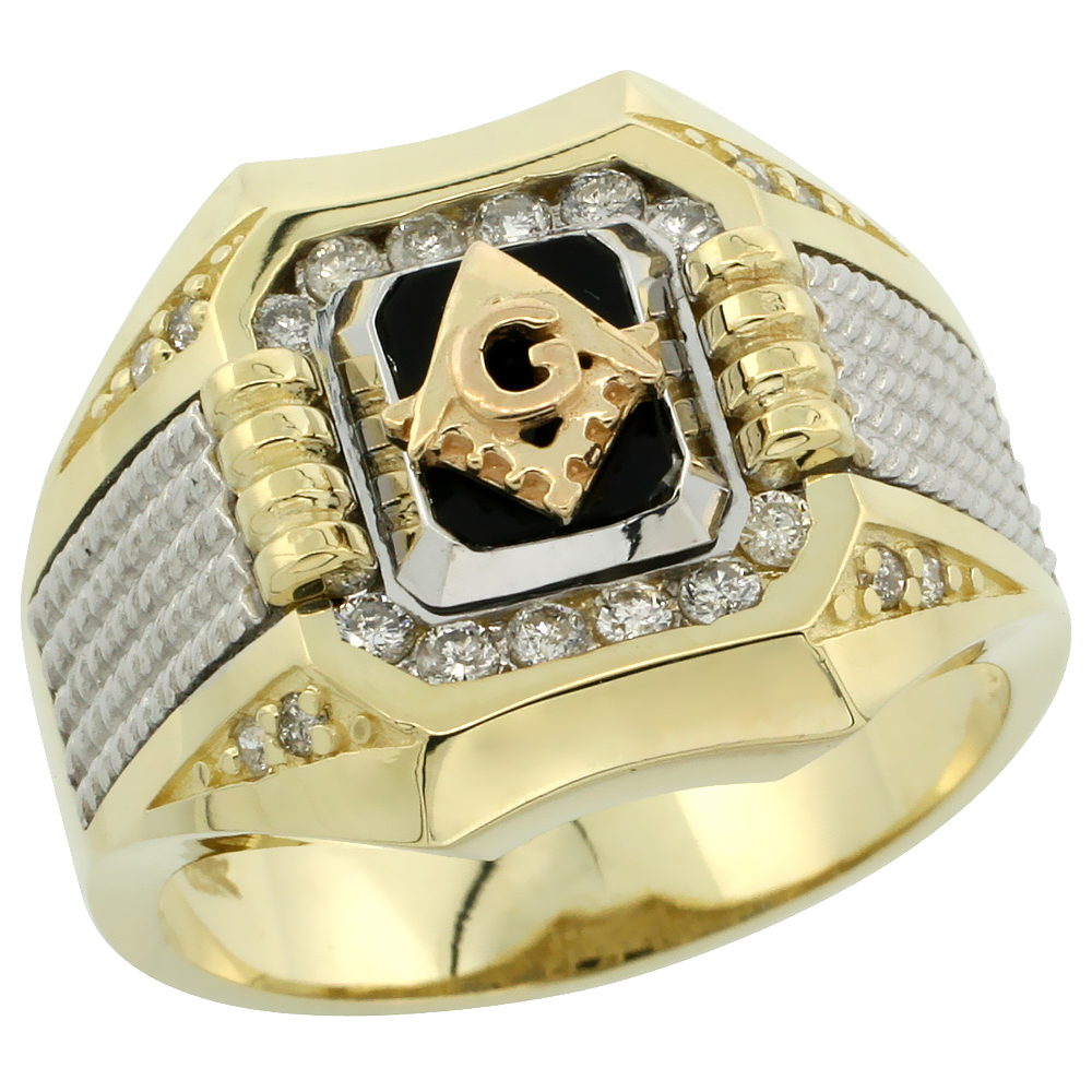 10k Gold Men's Rhodium Accented Square Diamond Masonic Ring w/ Black Onyx Stone & 0.37 Carat Brilliant Cut Diamonds, 11/16 in. (