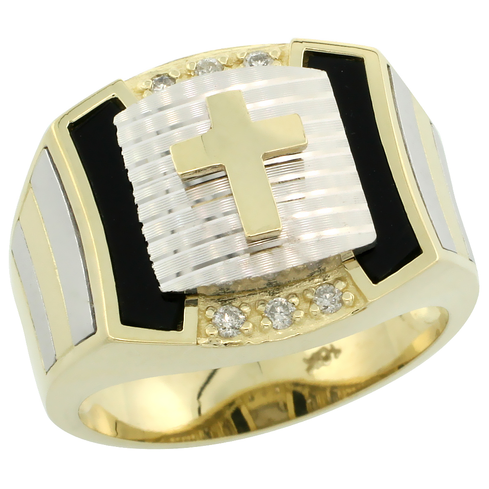 Genuine 10k Gold Diamond Black Onyx Cross Ring for Men Srtipe Sides Square Shape Rhodium Accent 0.095 ctw 5/8 inch sizes 8-13