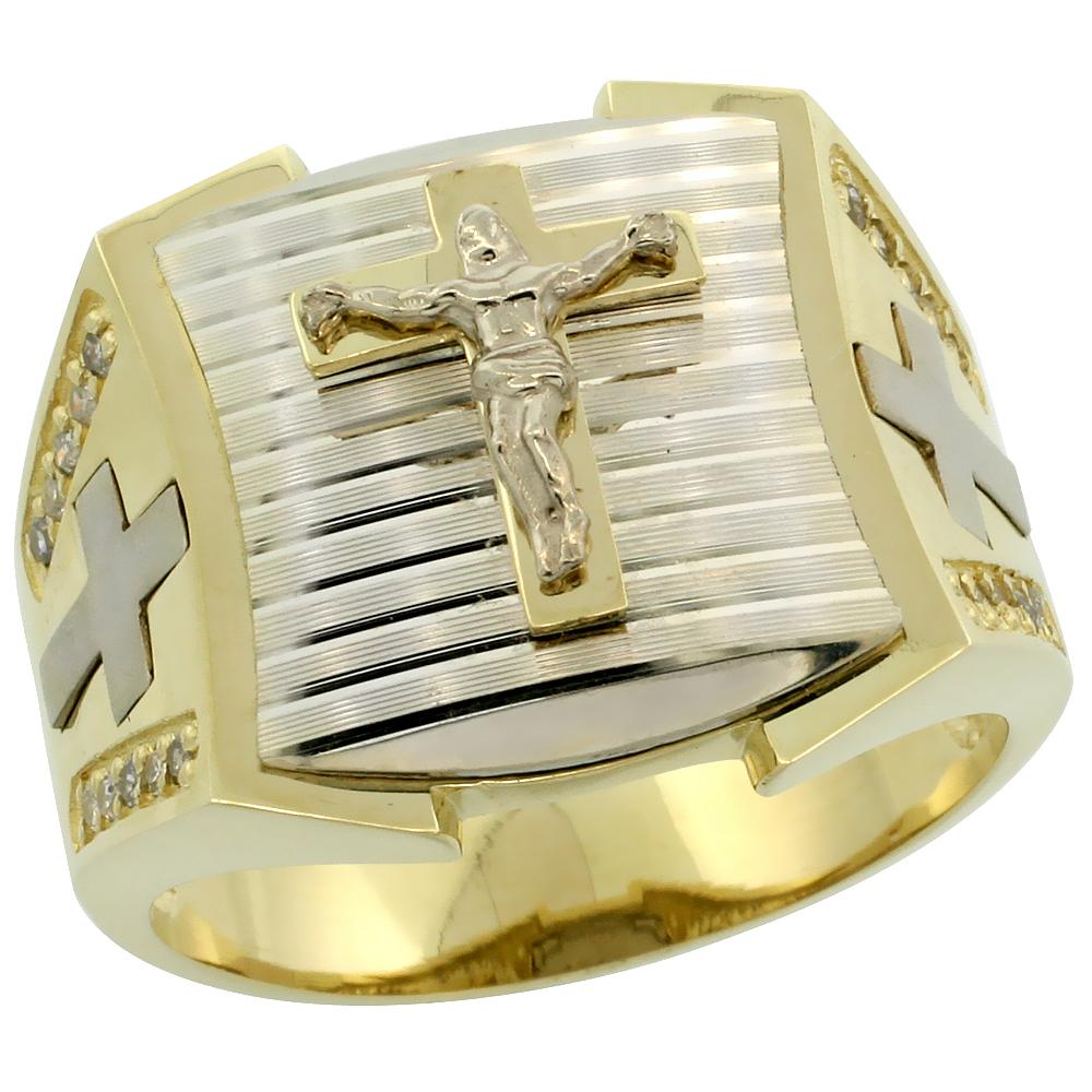 Genuine 10k Gold Diamond Crucifix Ring for Men Cross Sides Square Shape Diamond Cut Rhodium Accent 0.166 ctw 11/16 inch size 8-13