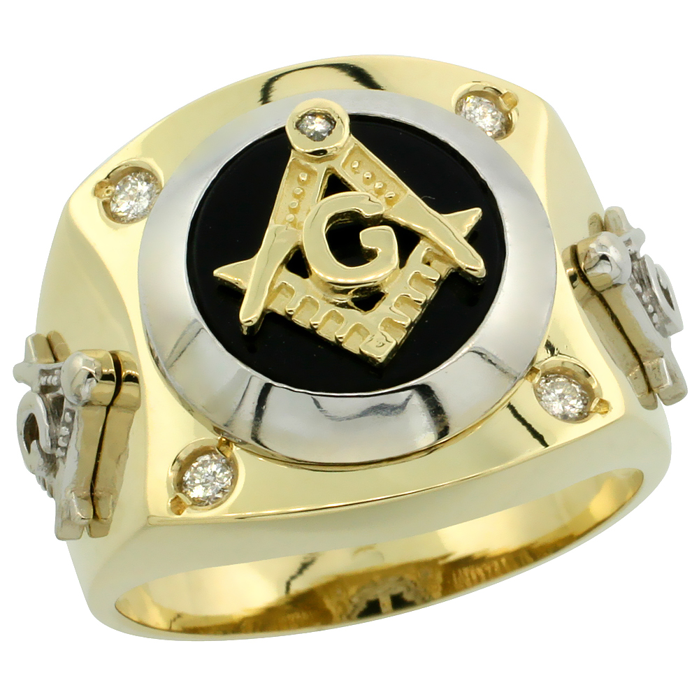 10k Gold Men's Rhodium Accented Diamond Masonic Ring w/ 0.155 Carat Brilliant Cut Diamonds, 11/16 in. (17mm) wide