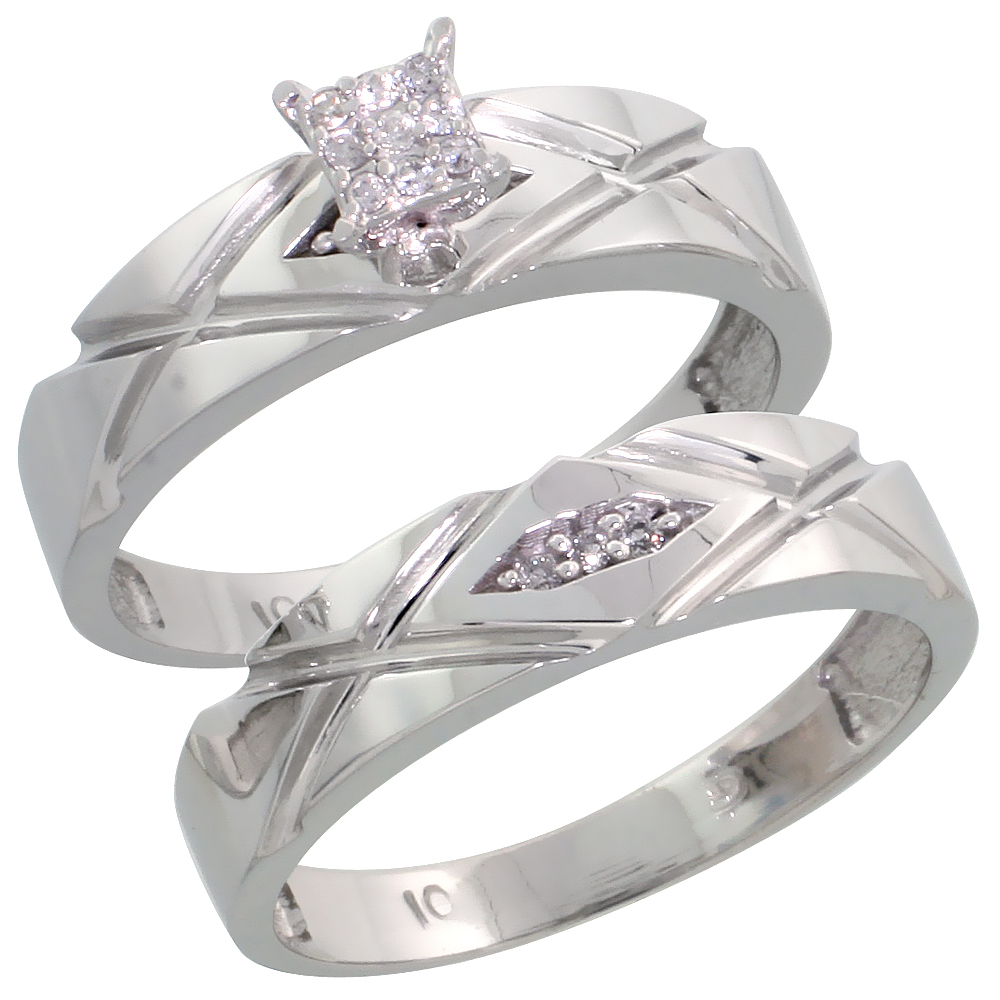 10k White Gold Diamond Engagement Ring Set 2-Piece 0.08 cttw Brilliant Cut, 3/16 inch 5mm wide
