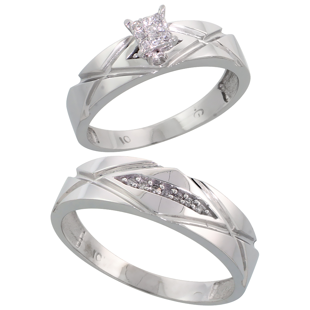 10k White Gold Diamond Engagement Rings Set for Men and Women 2-Piece 0.10 cttw Brilliant Cut, 5mm & 6mm wide
