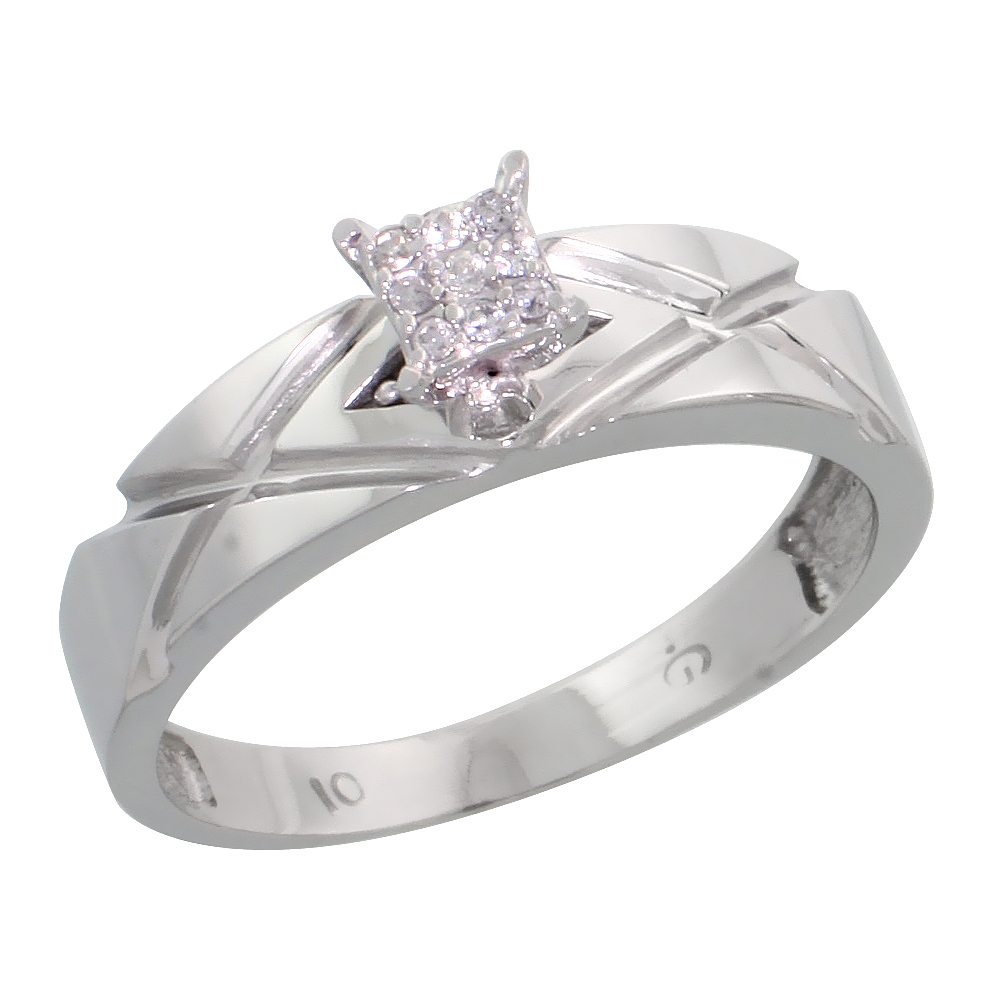 10k White Gold Diamond Engagement Ring 0.06 cttw Brilliant Cut, 3/16 inch 5mm wide
