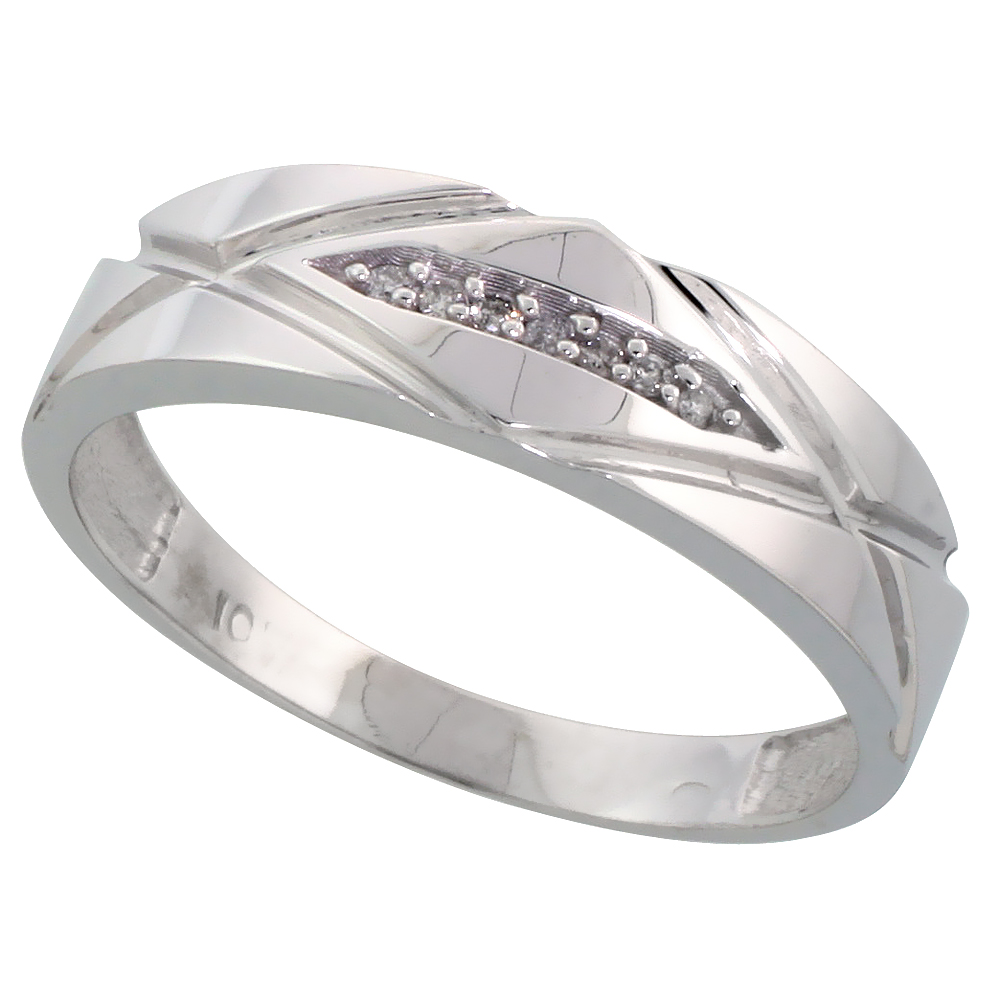 10k White Gold Mens Diamond Wedding Band Ring 0.04 cttw Brilliant Cut, 1/4 inch 6mm wide