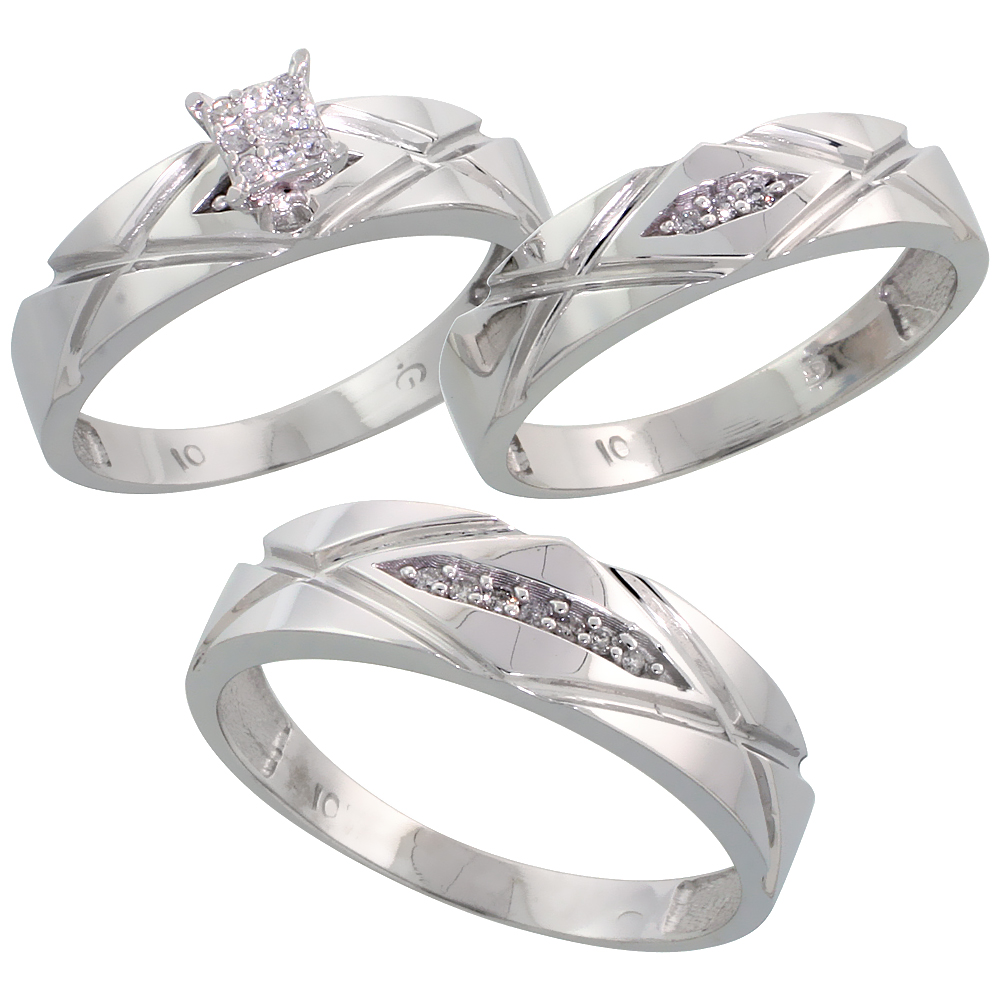 10k White Gold Diamond Trio Wedding Ring Set 3-piece His & Hers 6 & 5 mm 0.12 cttw, sizes 5  14