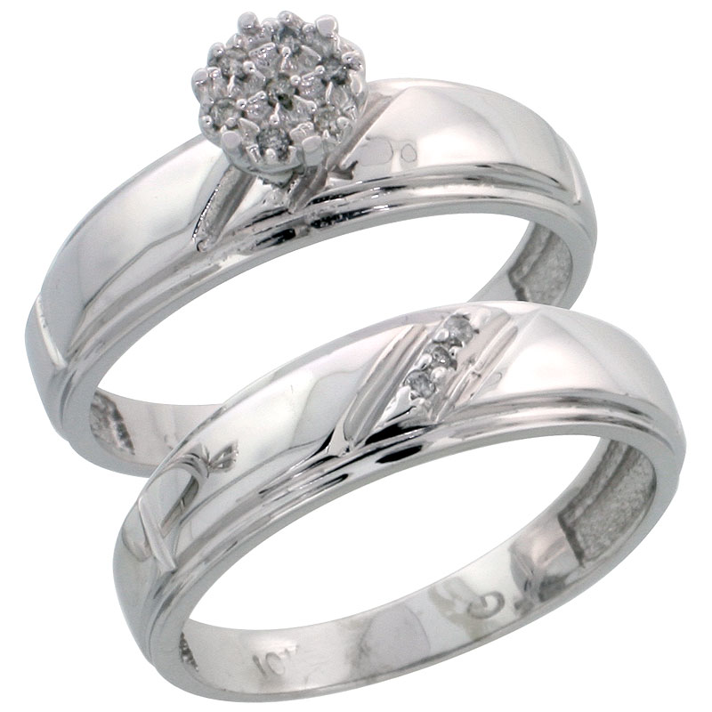 10k White Gold Diamond Engagement Ring Set 2-Piece 0.06 cttw Brilliant Cut, 7/32 inch 5.5mm wide
