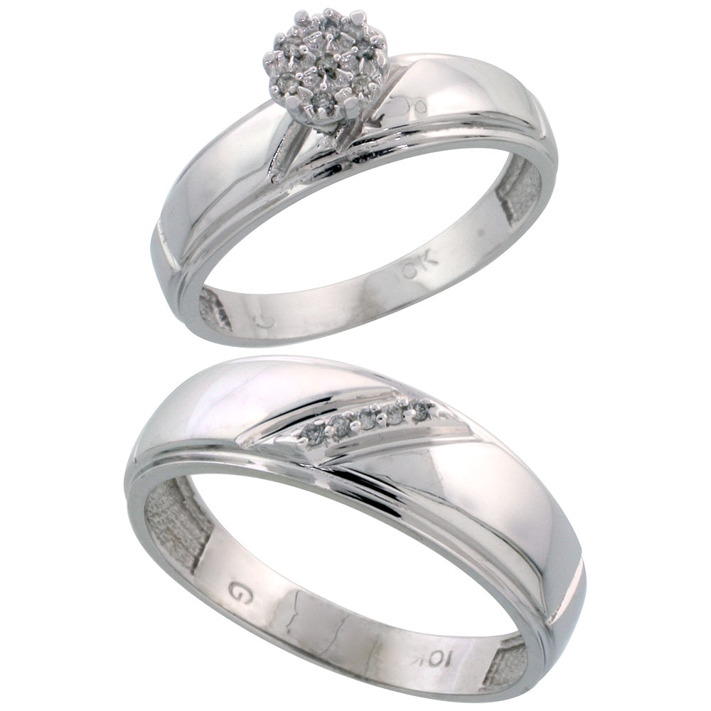 10k White Gold Diamond Engagement Rings Set for Men and Women 2-Piece 0.07 cttw Brilliant Cut, 5.5mm & 7mm wide