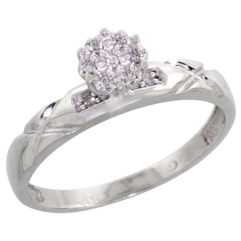 10k White Gold Diamond Engagement Ring 0.06 cttw Brilliant Cut, 1/8 inch 3.5mm wide