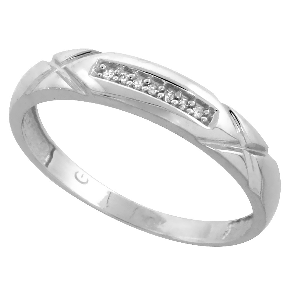 10k White Gold Mens Diamond Wedding Band Ring 0.04 cttw Brilliant Cut, 3/16 inch 4mm wide