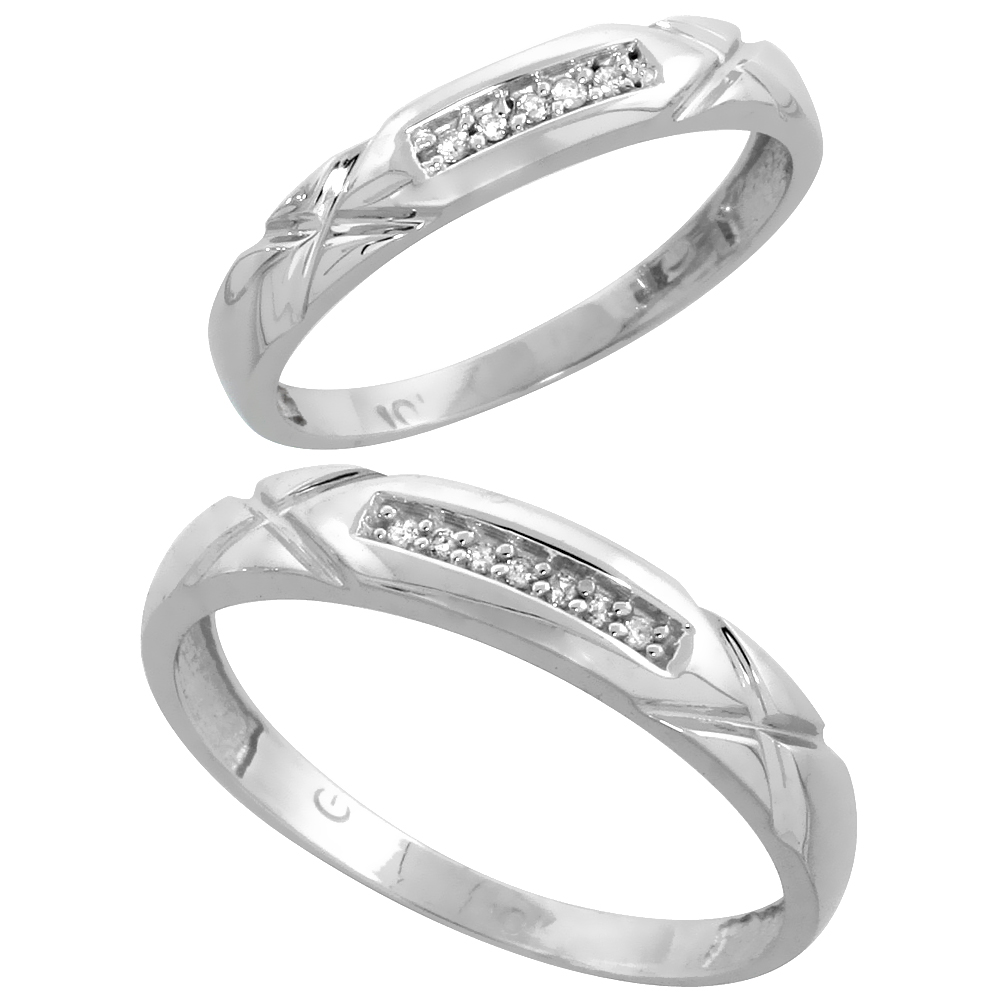 10k White Gold Diamond Wedding Rings Set for him 4 mm and her 3.5 mm 2-Piece 0.07 cttw Brilliant Cut, ladies sizes 5 � 10, mens