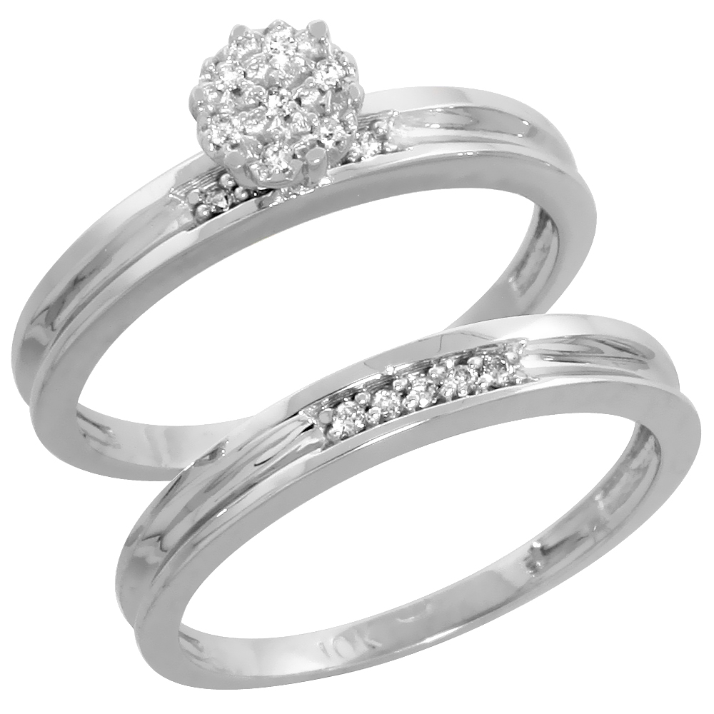 10k White Gold Diamond Engagement Ring Set 2-Piece 0.07 cttw Brilliant Cut, 1/8 inch 3mm wide