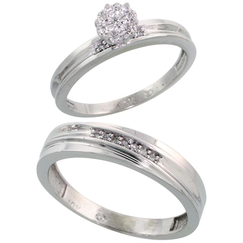 10k White Gold Diamond Engagement Rings Set for Men and Women 2-Piece 0.09 cttw Brilliant Cut, 5 mm & 3 mm wide