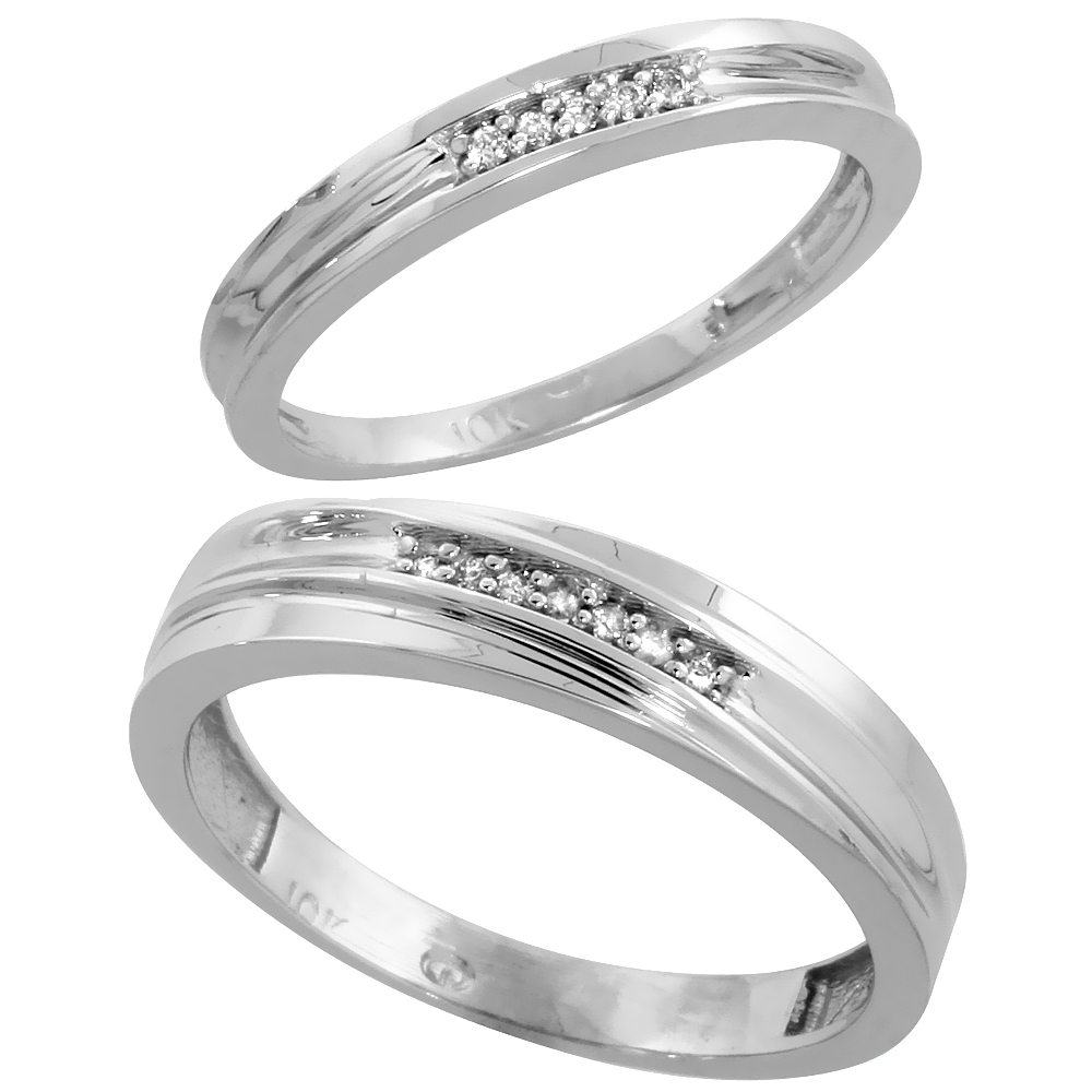 10k White Gold Diamond Wedding Rings Set for him 5 mm and her 3 mm 2-Piece 0.06 cttw Brilliant Cut, ladies sizes 5 � 10, mens si