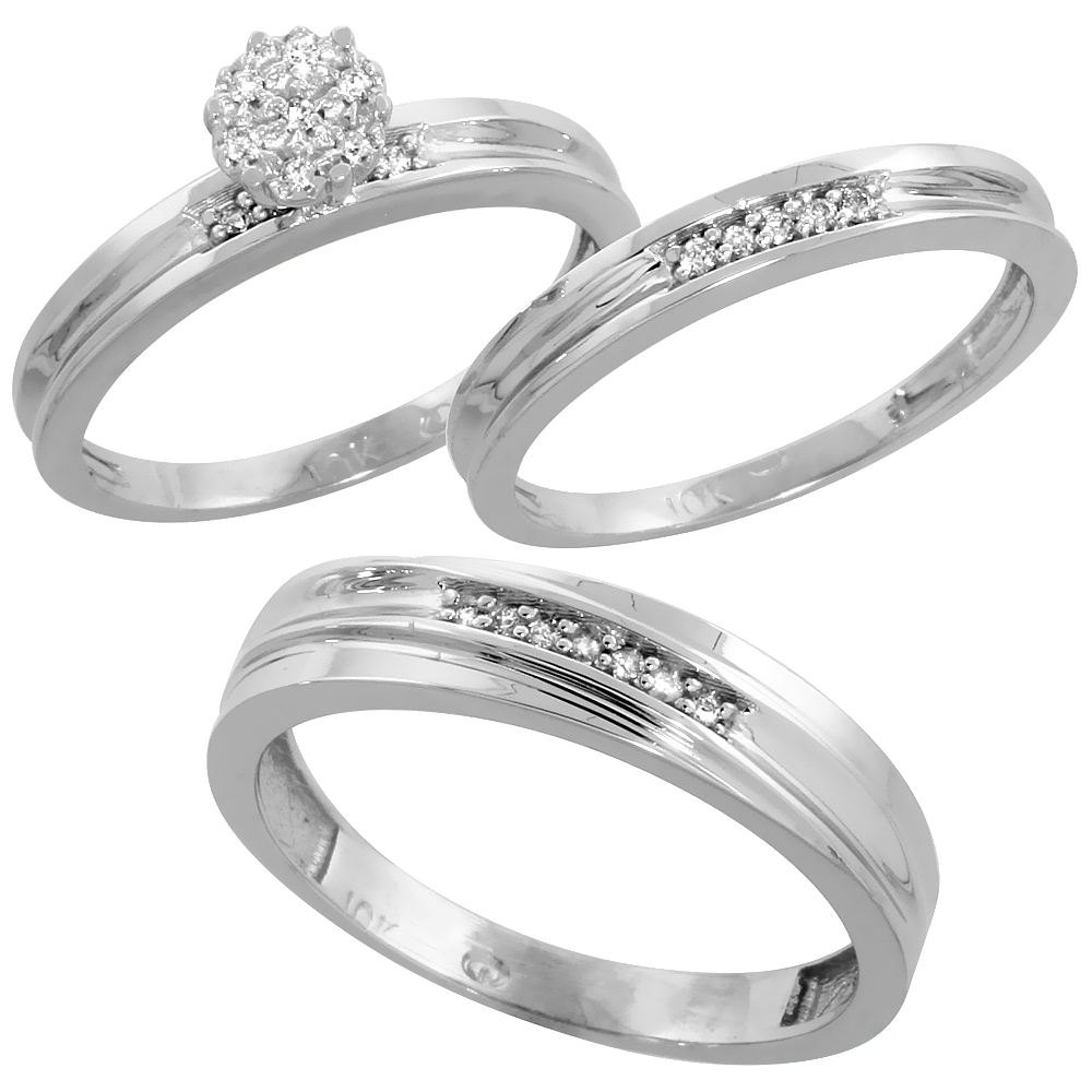 10k White Gold Diamond Trio Wedding Ring Set 3-piece His & Hers 5 & 3 mm 0.11 cttw, sizes 5  14