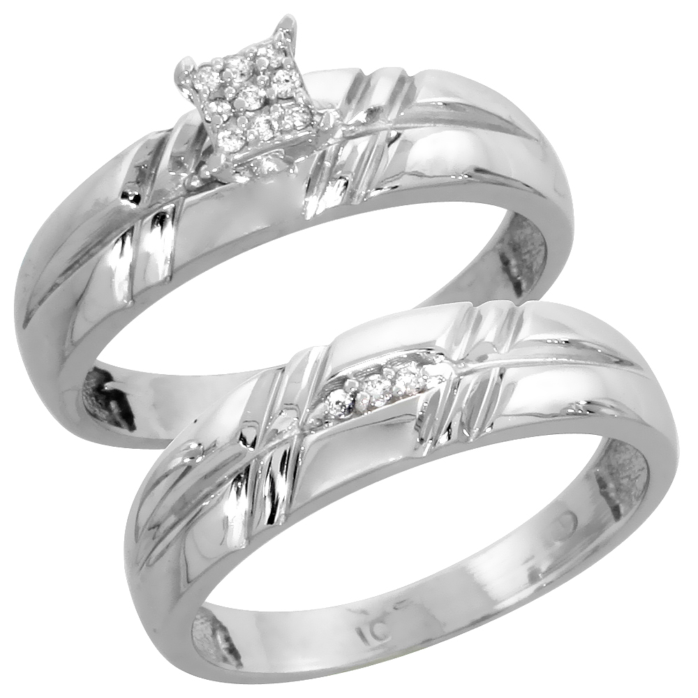 10k White Gold Diamond Engagement Ring Set 2-Piece 0.08 cttw Brilliant Cut, 7/32 inch 5.5mm wide