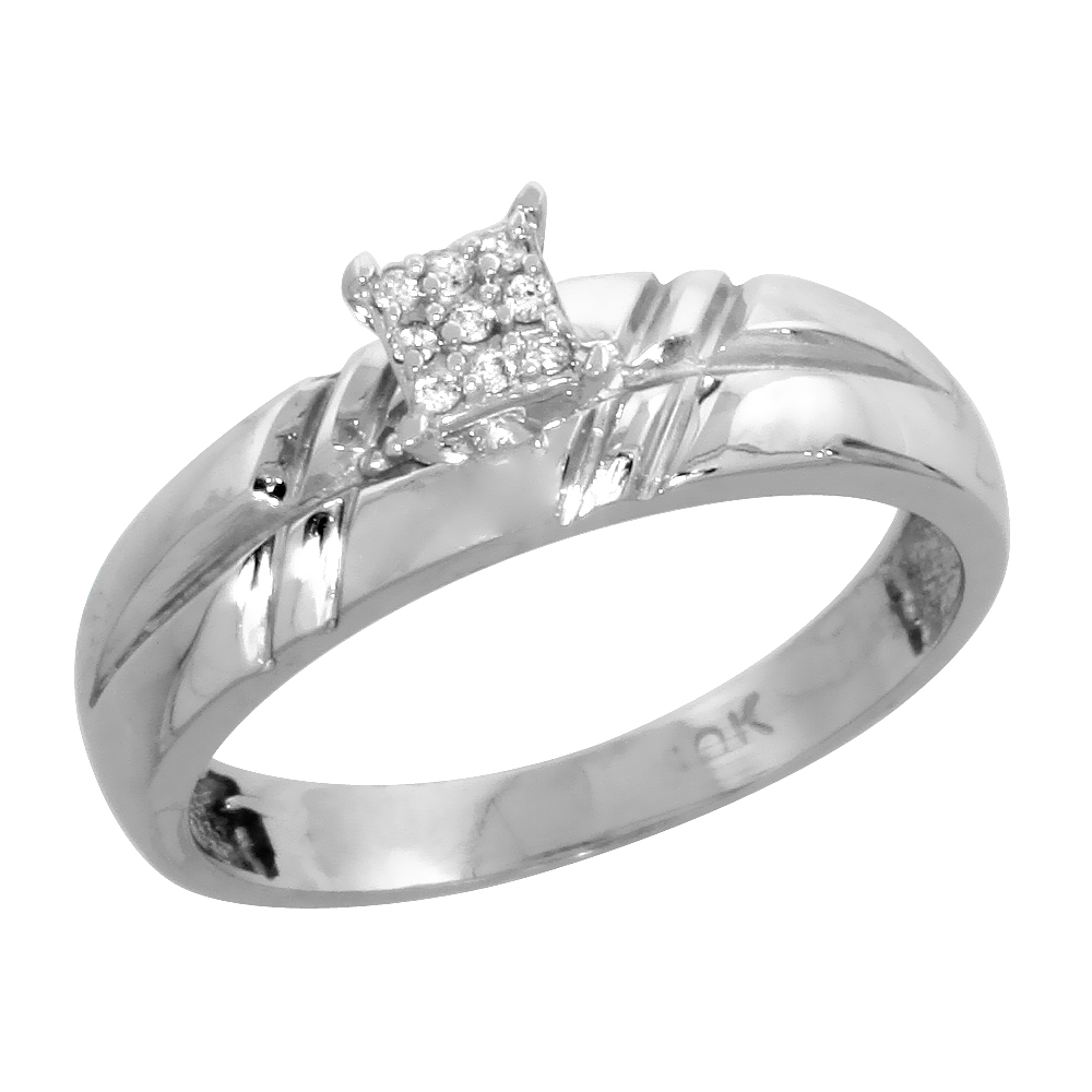 10k White Gold Diamond Engagement Ring 0.06 cttw Brilliant Cut, 7/32 inch 5.5mm wide