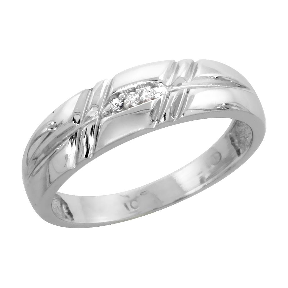 10k White Gold Ladies Diamond Wedding Band Ring 0.02 cttw Brilliant Cut, 7/32 inch 5.5mm wide