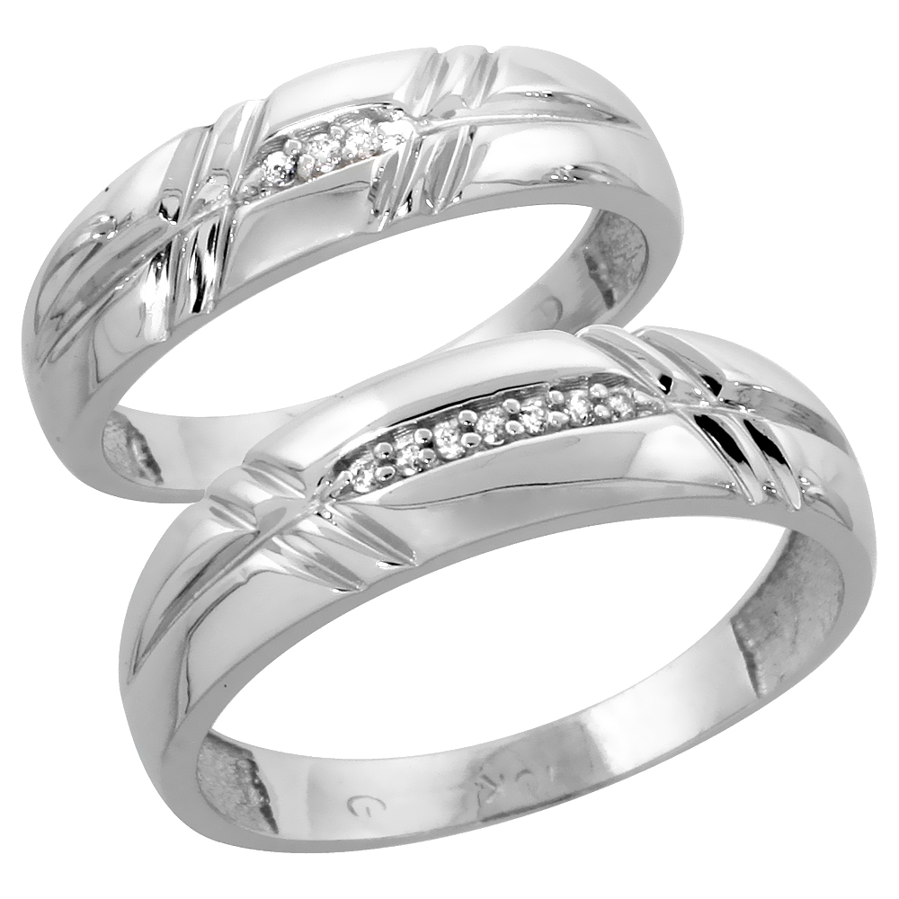 10k White Gold Diamond Wedding Rings Set for him 6 mm and her 5.5 mm 2-Piece 0.06 cttw Brilliant Cut, ladies sizes 5 � 10, mens