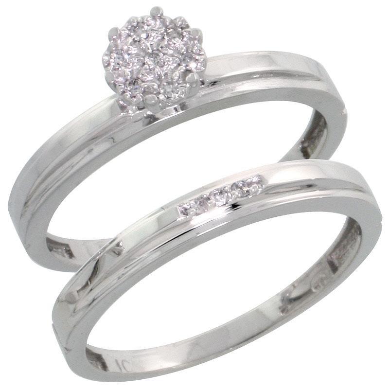 10k White Gold Diamond Engagement Ring Set 2-Piece 0.07 cttw Brilliant Cut, 1/8 inch 3mm wide