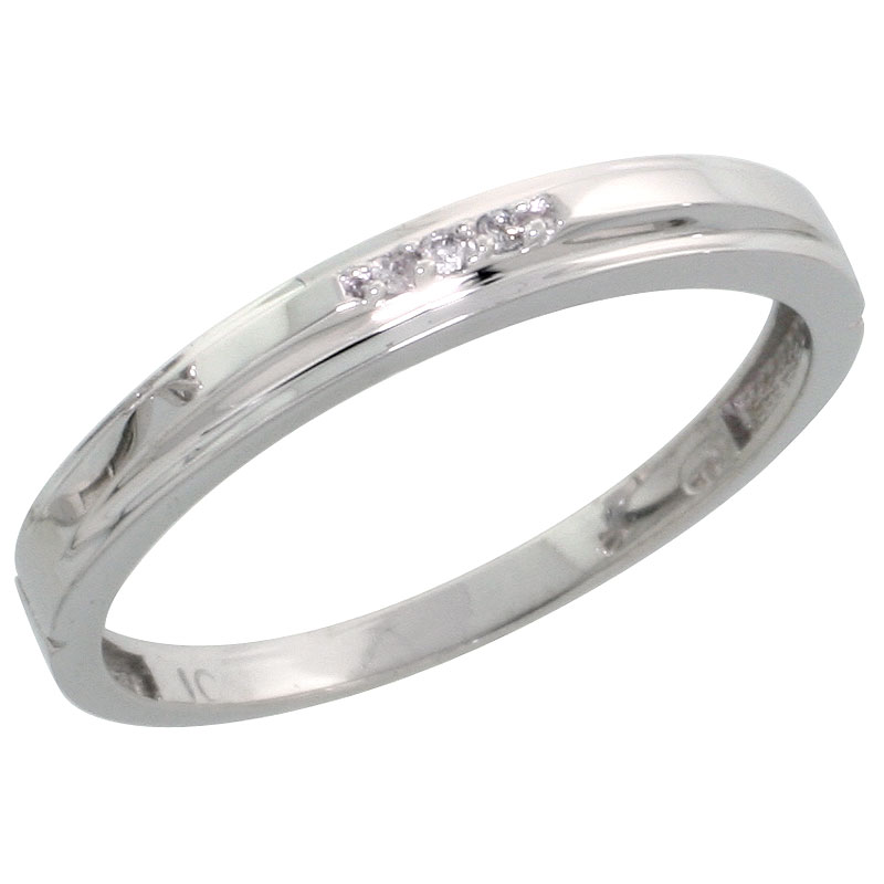 10k White Gold Ladies Diamond Wedding Band Ring 0.02 cttw Brilliant Cut, 1/8 inch 3mm wide