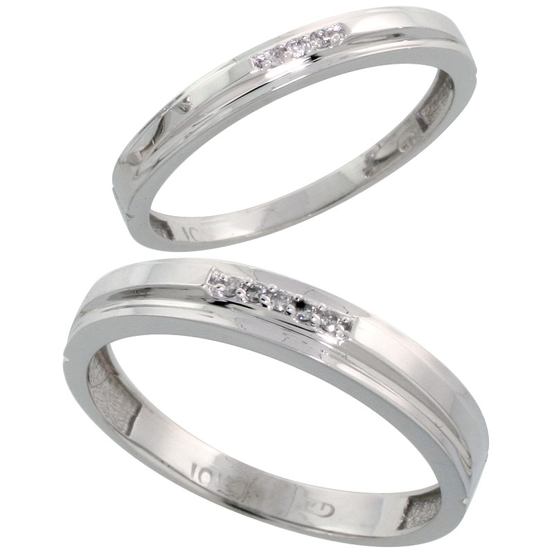 10k White Gold Diamond Wedding Rings Set for him 4 mm and her 3 mm 2-Piece 0.05 cttw Brilliant Cut, ladies sizes 5 � 10, mens si