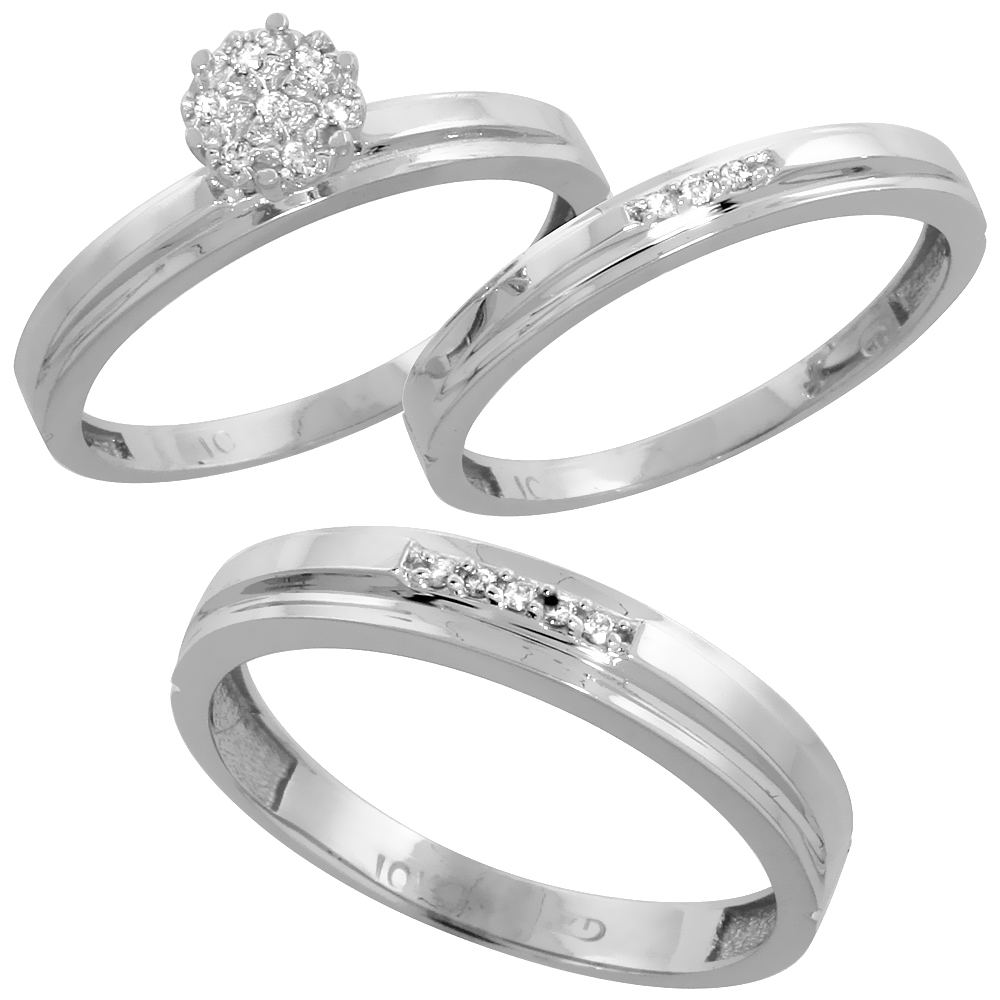 10k White Gold Diamond Trio Wedding Ring Set 3-piece His & Hers 4 & 3 mm 0.10 cttw, sizes 5  14