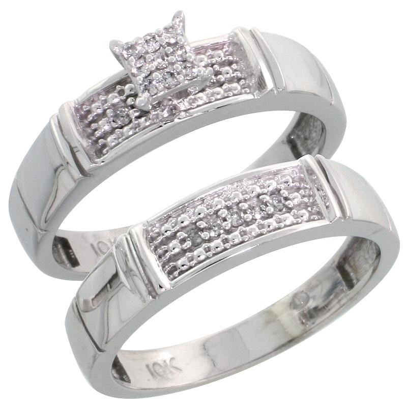 10k White Gold Diamond Engagement Ring Set 2-Piece 0.10 cttw Brilliant Cut, 3/16 inch 4.5mm wide